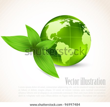 White background with earth and green leaves