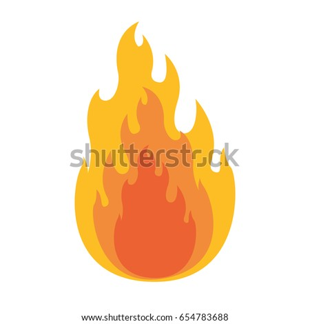 white background with flame in closeup vector illustration