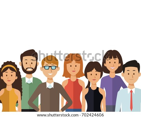 white background with half body group people of the world