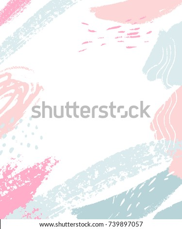 White background with pastel pink and blue abstract stains and brush strokes. Vertical frame with blank space for text
