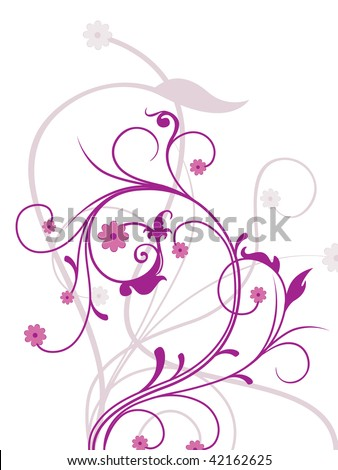 white background with purple floral illustration