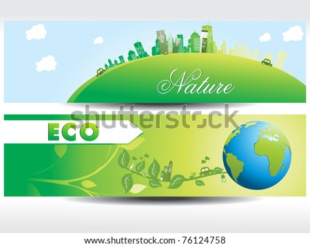 white background with set of two nature concept header, vector illustration