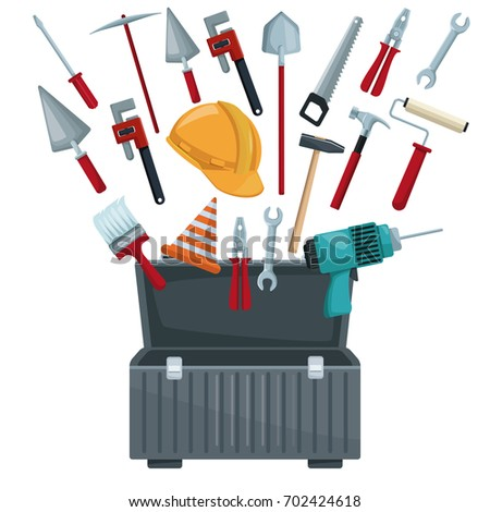 white background with toolbox opened and utensils floating