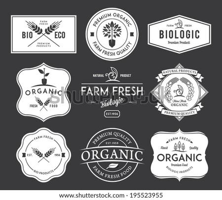 White bakery badges on black background