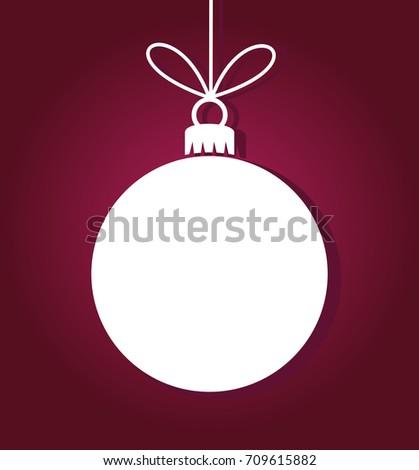 White ball ornament on purple background. Christmas illustration