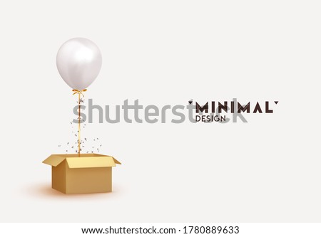white baloon with box and