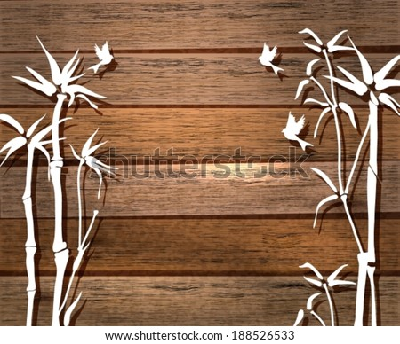 White Bamboo and birds over wood background, illustration, VECTOR