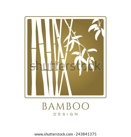 White bamboo tree silhouettes on golden background vector icon business sign template for modern design beauty boutique yoga spa cosmetics labeling botanical garden art gallery sample text wajeb Images