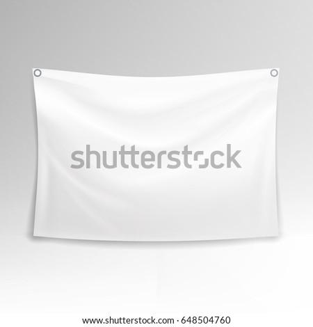 White Banner Vector. Realistic Horizontal Rectangular Advertising Banner. #648504760