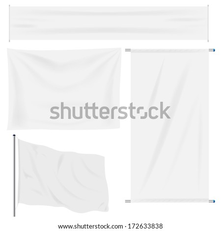 White banner with folds, separate shadows to be used on any color