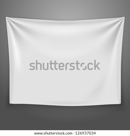 White banner with folds. Vector background