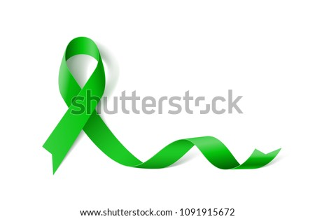 White Banner with Organ Transplant and Organ Donation Awareness Realistic Green Ribbon. Design Template for Websites Magazines