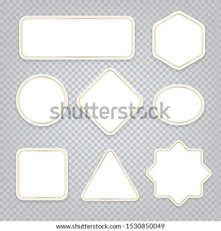 White banners of various shapes with golden elements. Vector elements with shadow on a transparent background for decoration.