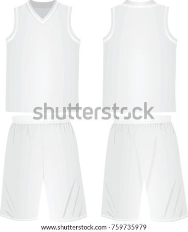 White basketball t shirt and shorts. vector illustration