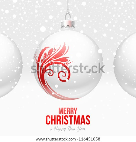 White baubles with red decor - Christmas vector design