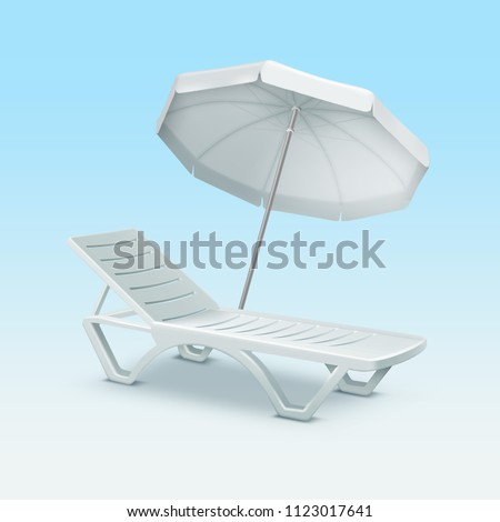 White beach sunbed sun bed chair sunlounger lounger chaise-longue chaise longue deck daybed recliner lounge with umbrella vector realistic illustration isolated on background