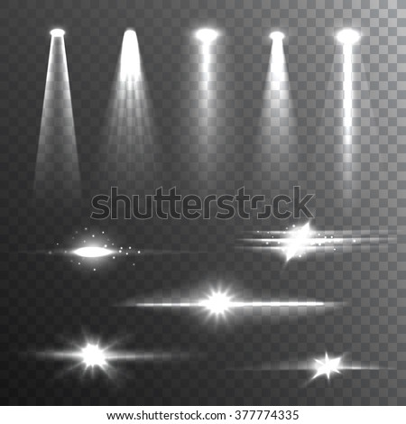 White beam lights set of different shapes and projections gleaming in the darkness banner abstract vector illustration