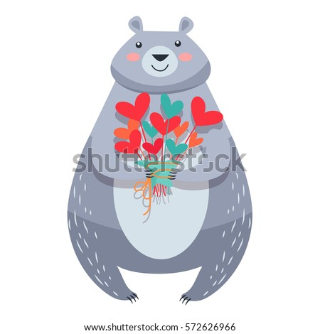 white bear with bouquet of