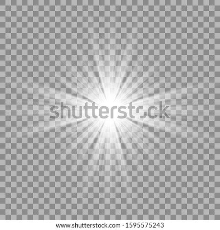 White beautiful light explodes, transparent explosion. Vector, bright illustration for perfect effect with sparkles. Bright Star. Transparent shine of the gloss gradient, bright flash.