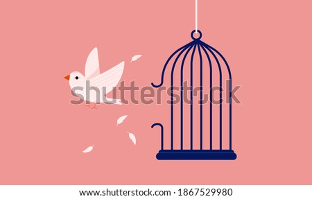 White bird break out of cage - A symbol for freedom and breaking free from captivity. Vector illustration. ストックフォト ©