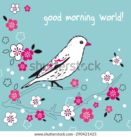 white bird on Japanese cherry tree branch with pink flowers vector illustration