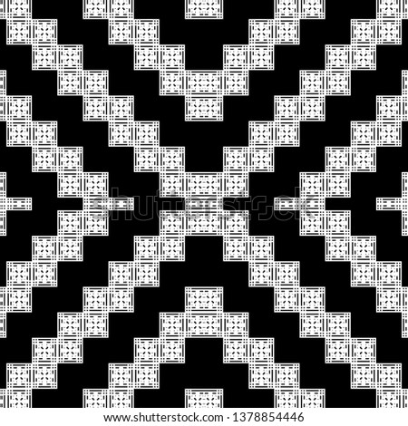 white black Art Deco pattern in ethnic style Aztec style hipster style