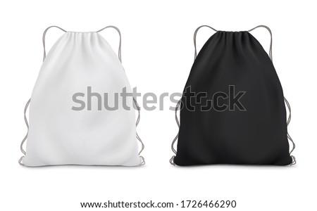 White black backpack bag on a rope. Sport bag mockup on white background. Stock foto ©
