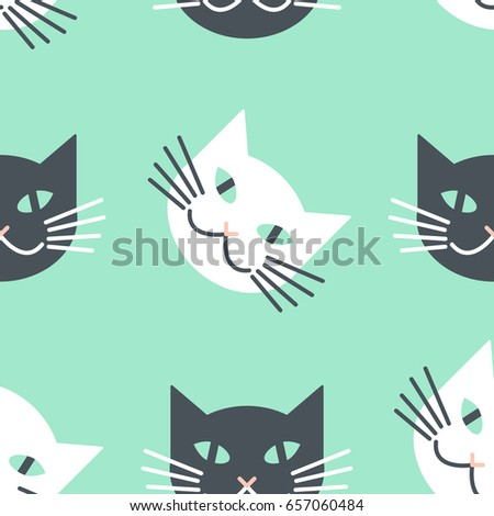 white   black cats faces