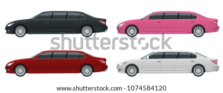 White, black, red, pink limousines isolated on white. Template limousine icon vector. Premium people transportation. Viev side.