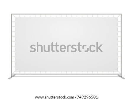 White blank advertising press wall with fabric banner vector template. Blank canvas banner for advertising and exhibition illustration