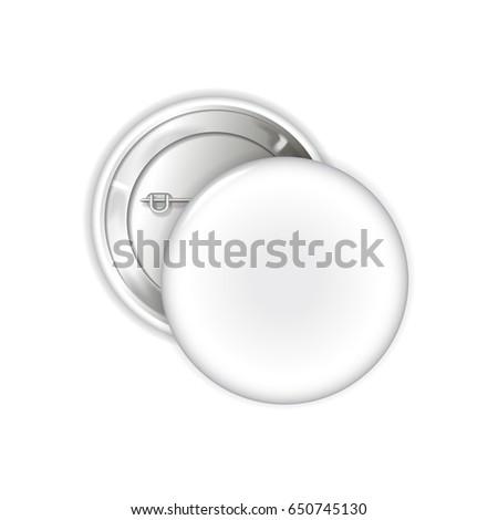 White blank badge. Pin brooch mockup. 3d illustration for your design