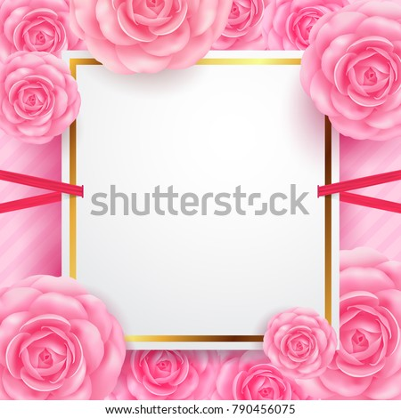 White blank banners with beautiful flower for Valentine's Day Greeting card, Banners,Flyers, Posters and Brochure.Vector illustration EPS 10