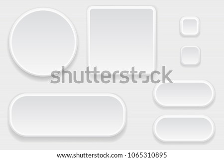 White blank buttons. Set of interface elements. Vector 3d illustration #1065310895