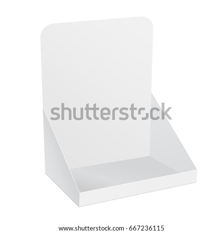 White blank cardboard display for advertising fliers, leaflets or products. Half side view mockup for showcase your design. Vector illustration