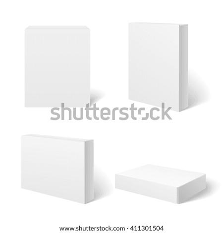 white blank cardboard package...