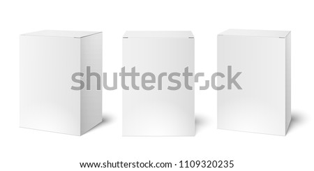 White blank cardboard package boxes mockup. Medicament 3d realistic square medicine box packaging vector illustration template isolated set on empty background