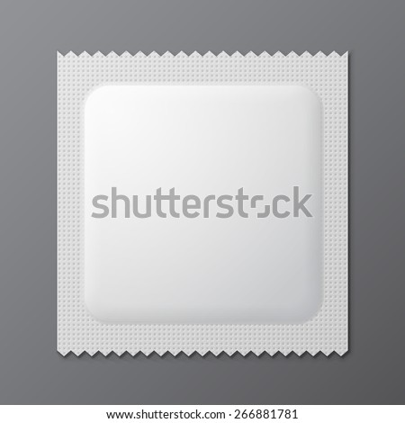 White Blank Condom Wrapper. Foil Pack Template Ready For Your Design. Vector EPS10