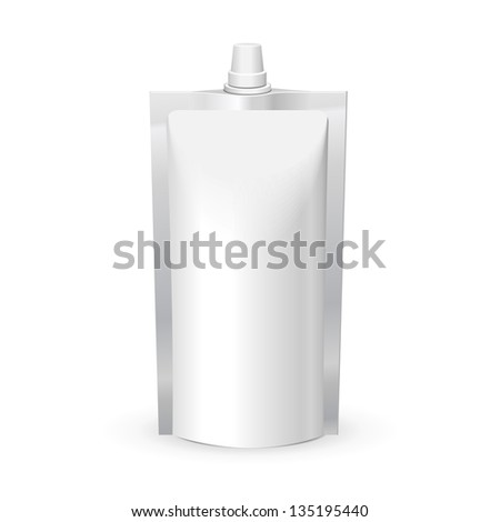 White Blank Doy Pack Doypack Foil Food Or Drink Bag Packaging With Lid Plastic Pack Template Ready For Your Design Vector EPS10