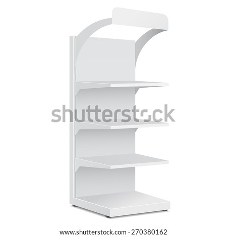 White Blank Empty Showcase Displays With Retail Shelves Products On White Background Isolated. Ready For Your Design. Product Packing. Vector EPS10