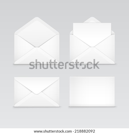 White Blank Envelopes Isolated