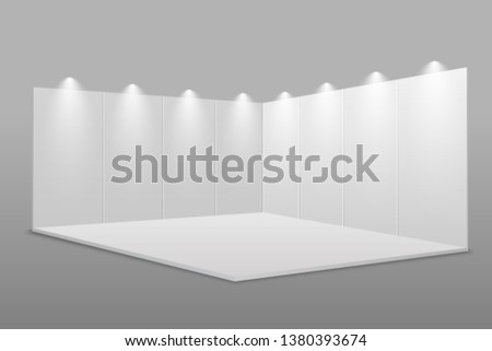 White blank exhibition stand.  Presentation event room