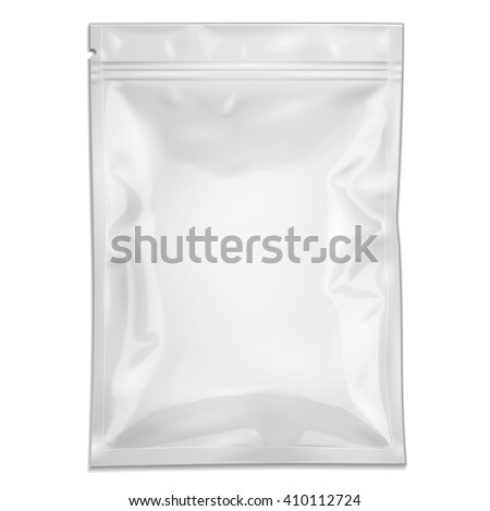 White Blank Filled Retort Foil Pouch Bag Packaging With Zipper. For Medicine Drugs Or Food Product. Illustration Isolated On White Background. Mock Up Template Ready For Your Design. Vector EPS10
