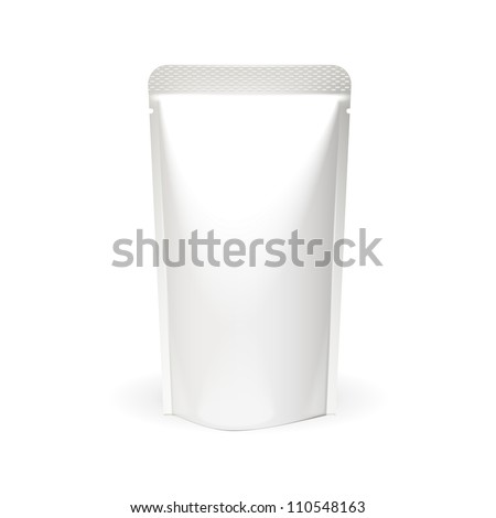 White Blank Foil Food Or Drink Bag Packaging. Plastic Pack Template Ready For Your Design. Vector EPS10