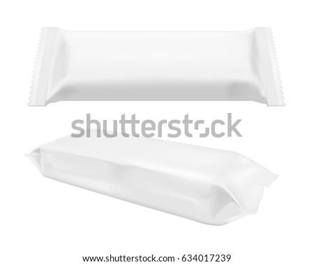 White blank foil food snack pack for chips, candy and other products. Wet wipes packaging.