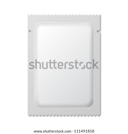 White Blank Foil Packaging Medicine Drugs Or Coffee, Salt, Sugar, Pepper, Spices, Sachet, Sweets Or Candy Plastic Pack Ready For Your Design. Snack Product Packing Vector EPS10