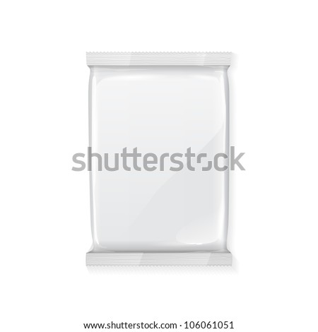 White Blank Foil Packaging Plastic Pack Ready For Your Design: Snack Product Packing - stock vector