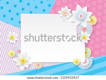 White blank frame for placing text, congratulations, surrounded by spring flowers, circles in style of paper art on background of geometric patterns in delicate pastel pink blue colors.  Summer vector