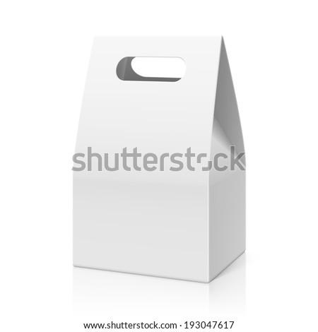 White blank hand cake bread packaging paper bag Vector