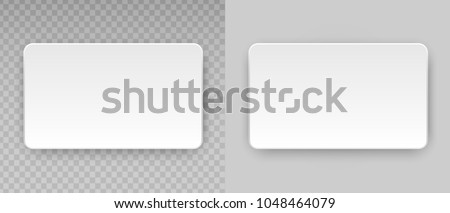 White blank horizontal plastic, paper business card or name credit card template isolated on transparent background. Vector clean web button, sticker, sheet, label, banner with rounded corners