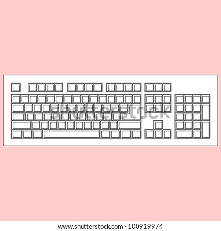 White blank keyboard isolated on pink background (vector version)